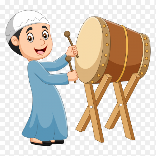 Cartoon muslim boy hitting bedug PNG