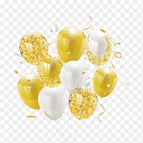 Gold white balloons PNG
