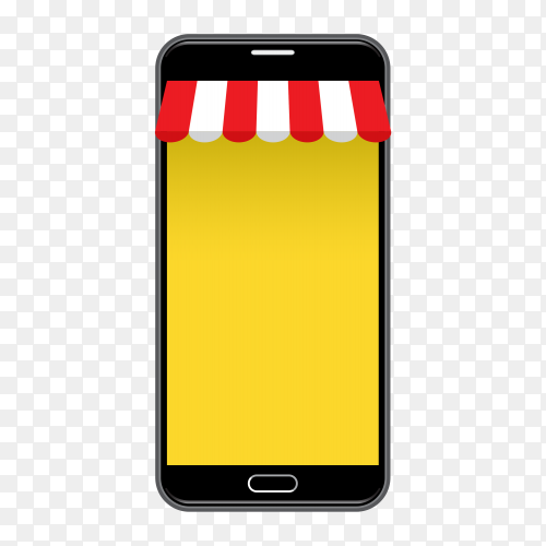 Giant cellphone selling goods Vector PNG