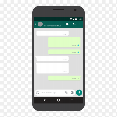 Chat screen mobile phone template Vector PNG