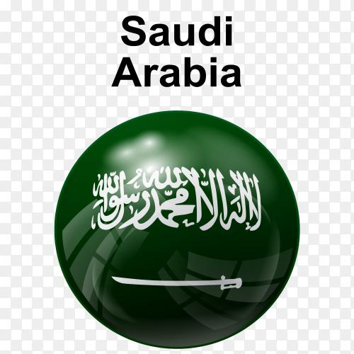 Circle glossy flag Saudi Arabia PNG