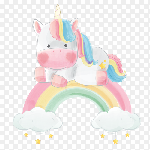 Colorful unicorn sitting above the rainbow PNG