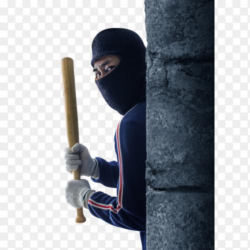 Criminal or bandit holding a baseball bat PNG