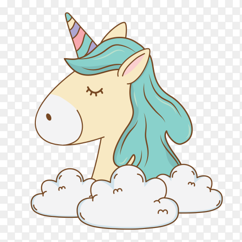Cute fairytale unicorn relax in cloud PNG
