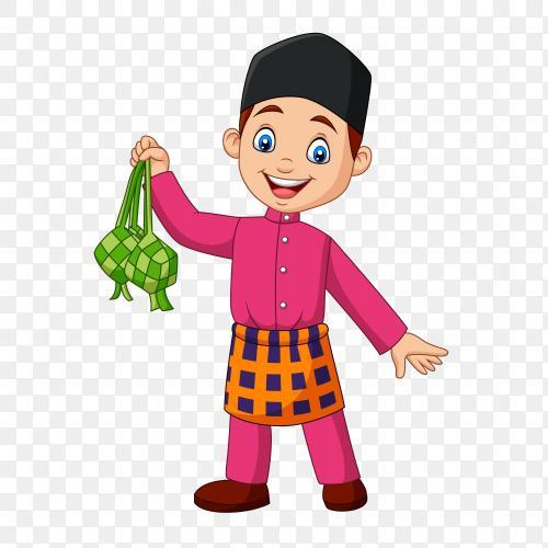 Cute muslim boy holding a ketupat Vector PNG