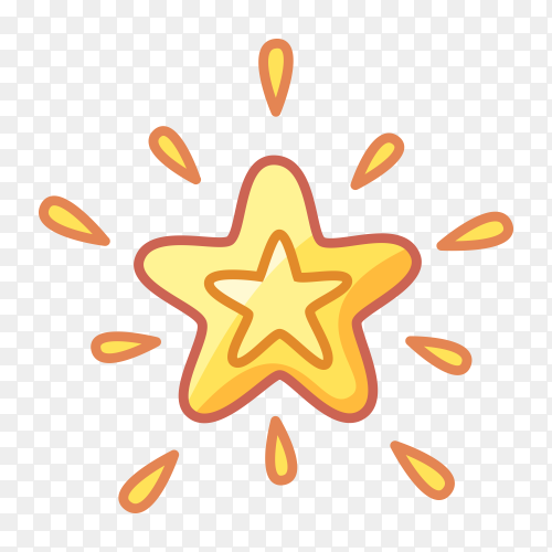 Cute gold star PNG