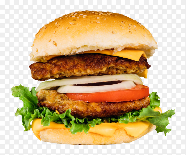 Double juicy burger with vegetables table PNG