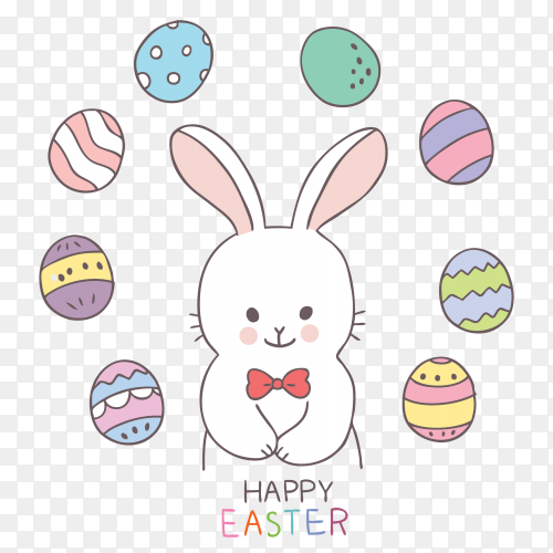 Easter day rabbit and colorful eggs Vector PNG