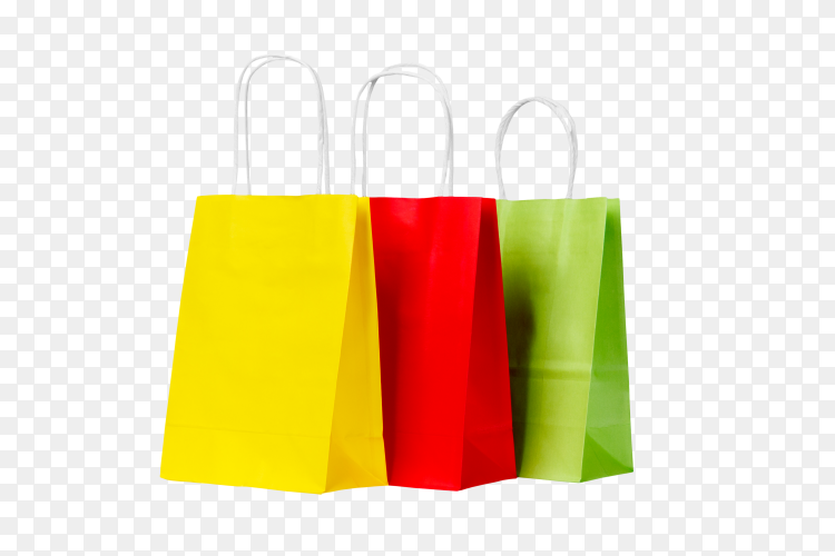 Ecological recycling set of colored paper shopping bags PNG