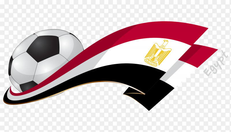 Illustration with soccer ball and flag of Egypt PNG