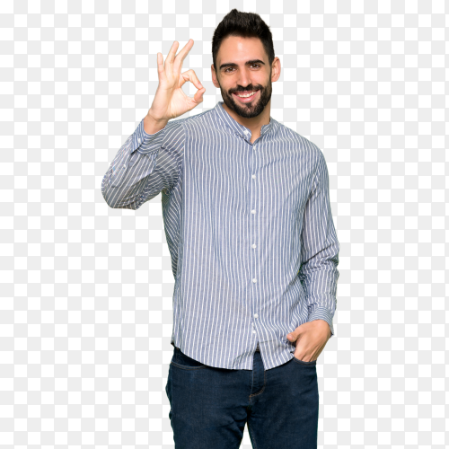 Elegant man showing an ok sign with fingers PNG