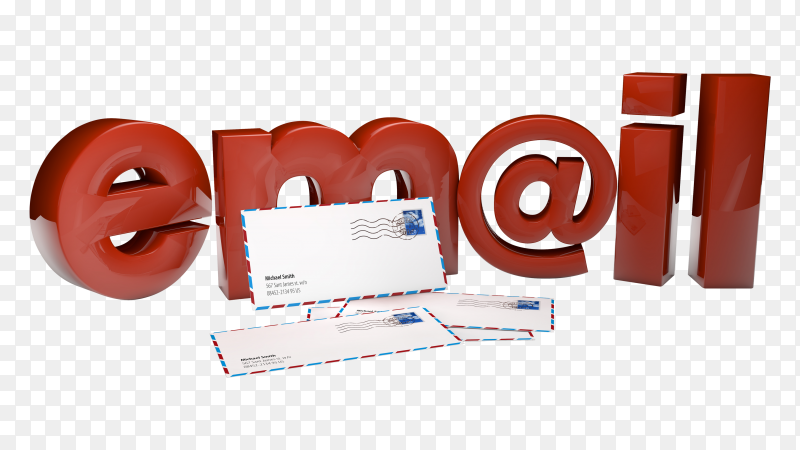 Three dimensional mail text with 4 envelopes PNG