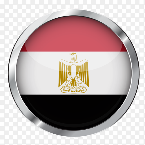 Flag Egypt in silver circle PNG