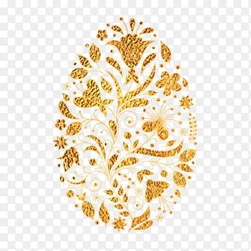 Floral easter egg with golden texture PNG