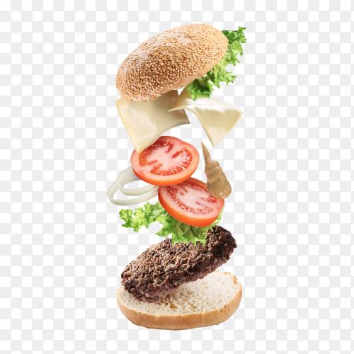 Flying ingredients of hamburger – cheeseburger transparent PNG