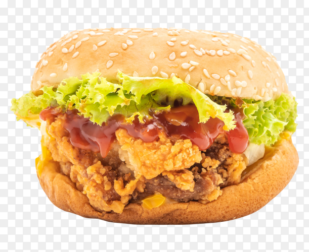 Fried chicken burger transparent PNG