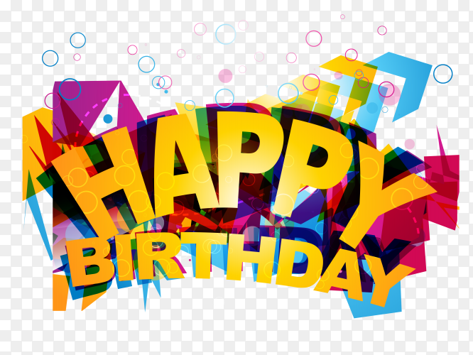 Funky happy birthday illustration PNG