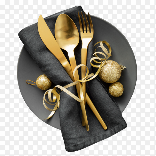 Gold cutlery served on plate for christmas dinner PNG