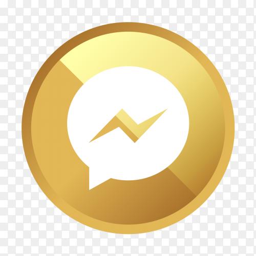 Golden messenger logo social media icon PNG