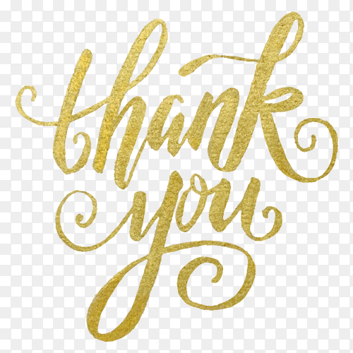 Golden thank you lettering PNG