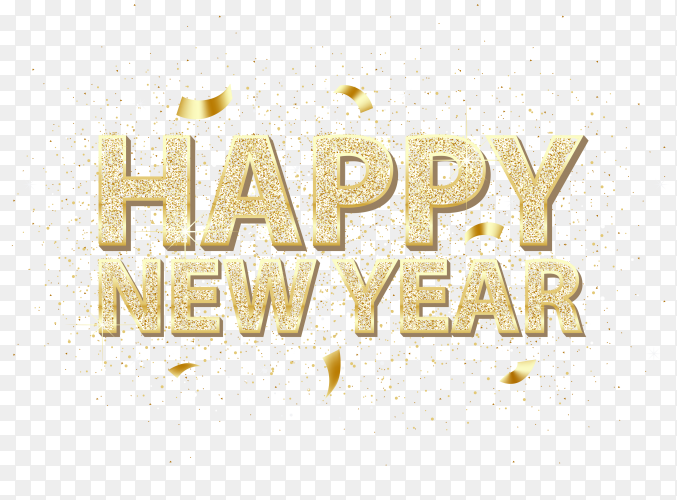 Golden happy new year inscription and falling golden confetti PNG