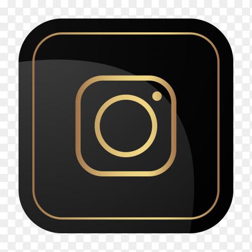 Golden social media logo Instagram PNG