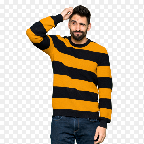 Handsome man with striped sweater having doubts while scratching head PNG