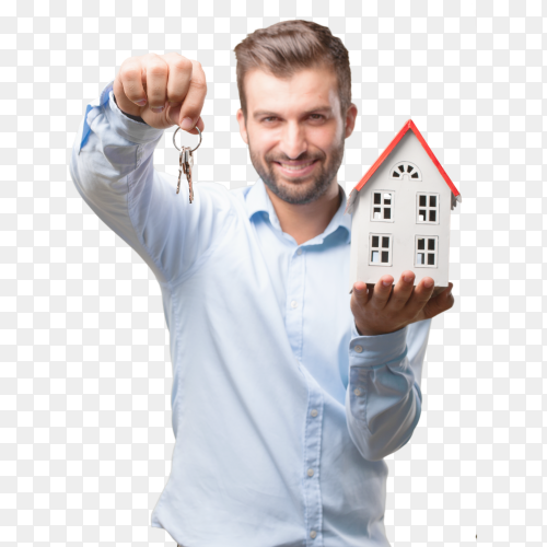Handsome young man and real estate concept PNG
