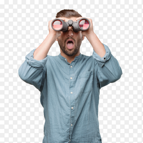 Handsome man with binoculars PNG