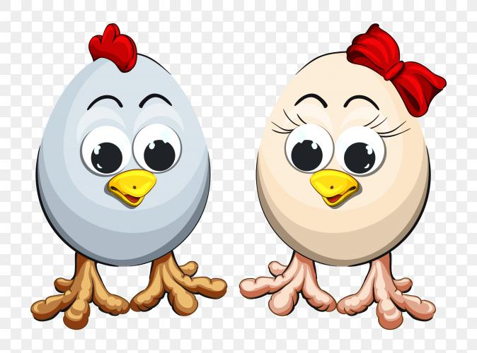 Happy easter with cute chicken eggs PNG