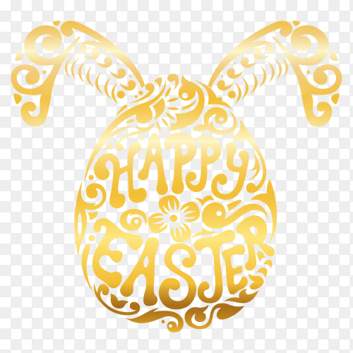 Happy easter text with decorative gold easter egg PNG