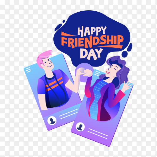 Happy friendship day, friends from social networks PNG