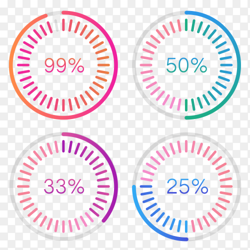 Infographic circles with percentages Vector PNG