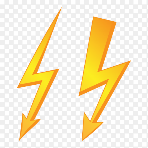 Golden lightning symbols PNG