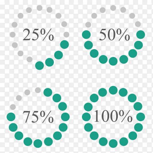 Set of percentage diagrams PNG