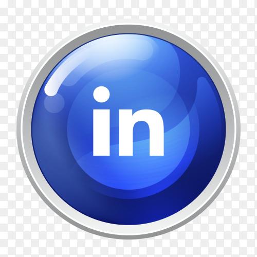 Logo Linkedin button social media PNG