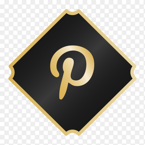 Logo Pinterest with golden details PNG
