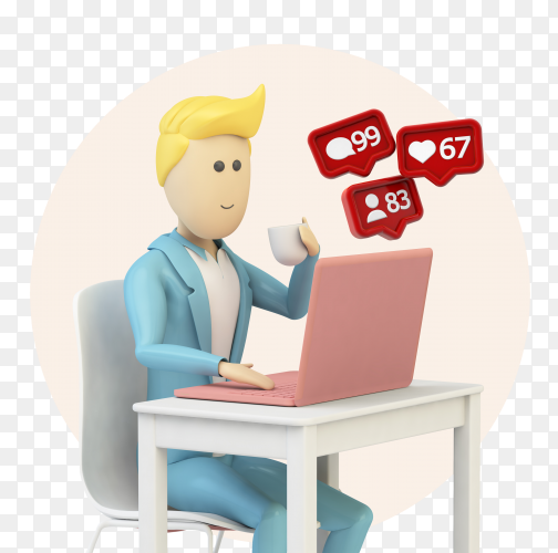 Male cartoon using computer with social media notifications PNG