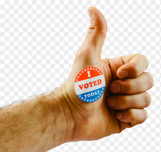 Man's hand teaching that he has voted today in the american elections with a sticker PNG