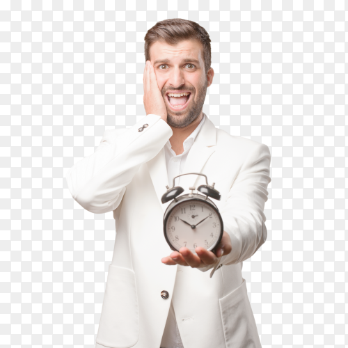 Stressed young man holding alarm clock PNG
