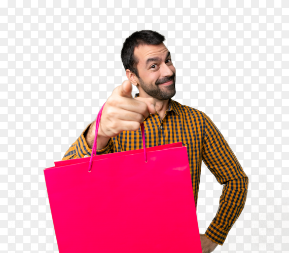 Man with shopping bags PNG
