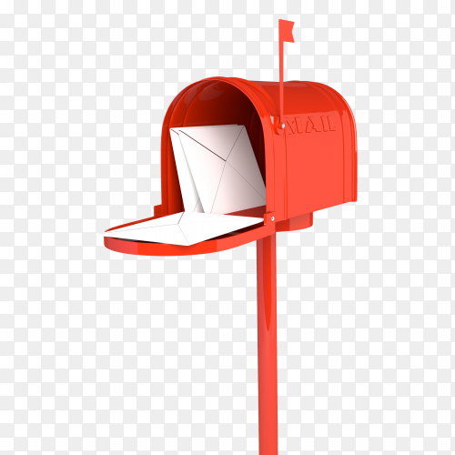 Open red mailbox with letters PNG