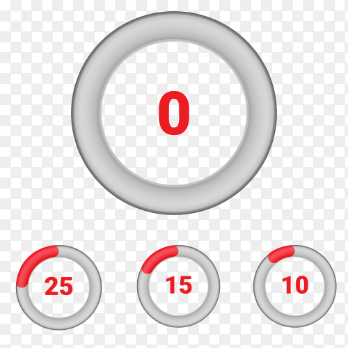 Set of circle percentage diagrams from 0 to 10 Vector PNG