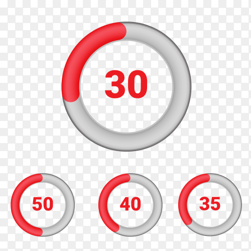 Set of circle percentage diagrams from 30 to 50 Vector PNG