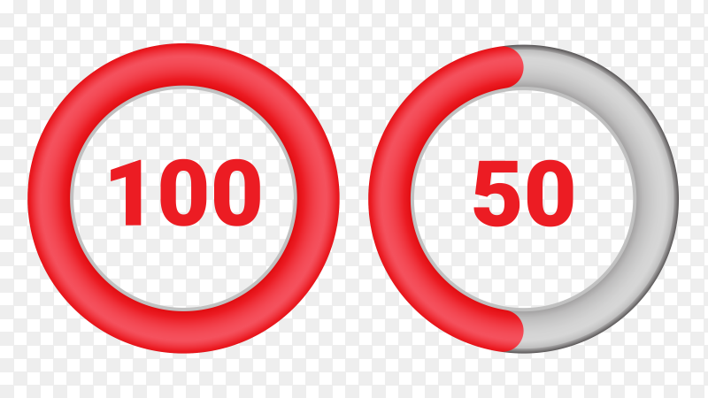 Set of circle percentage diagrams from 50 to 100 Vector PNG