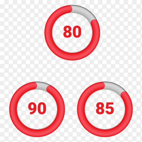 Set of circle percentage diagrams from 80 to 90 Vector PNG
