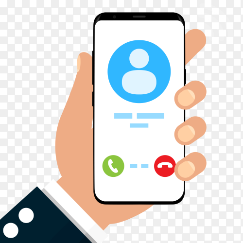 Incoming call on mobile phone screen PNG