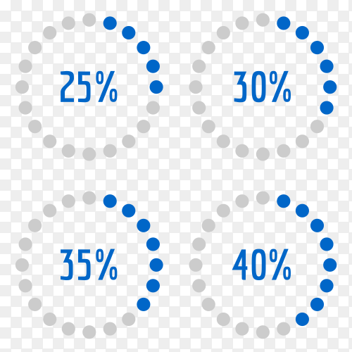 Percentage diagram set 25% – 30% – 35% – 40% Vector PNG