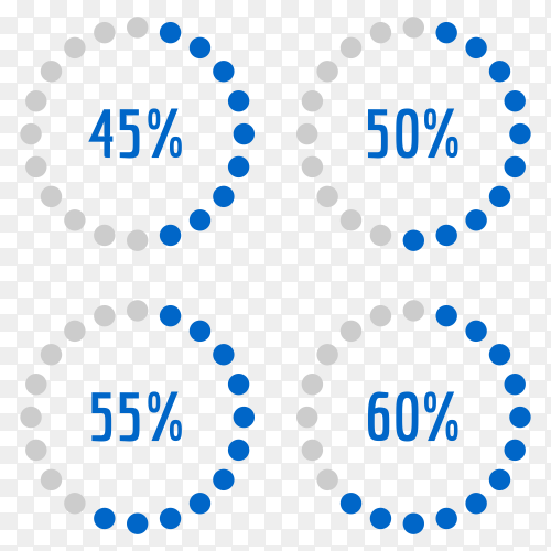 Percentage diagram set 45% – 50% – 55% – 60% Vector PNG