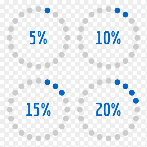 Percentage diagram set 5% – 10% – 15% – 20% Vector PNG